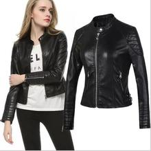2017 new locomotive Europe and the United States short paragraph PU leather clothing women leather jacket large size zipper fema(China)
