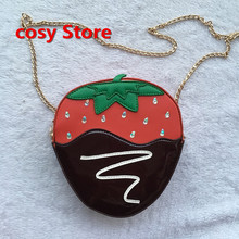 Recommended personalized brand design fashion cute bag color strawberry shape shoulder bag girl handbag gift(China)