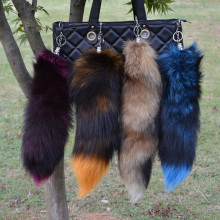 OBN 4 Colors Large Real fox Tail keychain Fur Tassel Car Key ring Bag Charm(China)