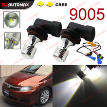 2pcs 6000k 20w 4-SMD 9005 HB3 H10 Bulbs LED DRL For Honda Civic Fog Lamp Car Auto Bulb + Error Free Canbus Decoders