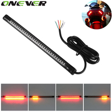Universal Flexible LED Motorcycle Brake Lights Turn Signal Light Strip 32 Leds License Plate Light Flashing Tail Stop Lights(China)