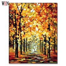 WEEN Tree Street Painting Picture By Number DIY Handpainted Wall Arcylic Paint Landscape Gift 40X50 cm Coloring By Number Atrs(China)