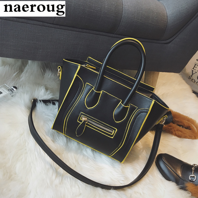Famous Fashion Brand Designer 2017 Classic Luxury Smiley Package Leather Tote Bags Phantom Style Smile Embarrassed Shoulder Bags<br><br>Aliexpress