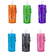 High Quality 480ml Portable Foldable Water Bottle Ice Bag Running Outdoor Sport Camping Hiking Random Color