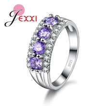PATICO Women Lady Party Beautiful Jewelry 925 Silver 4 Purple Square Crystal Finger Ring Cubiz Zircon Rings