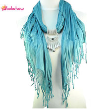 AOLOSHOW Jewelry necklace Scarfs Women Beauty silver charms element Triangle Jewelry Pendant Tassel Scarf neckerchief NL-1523(China)