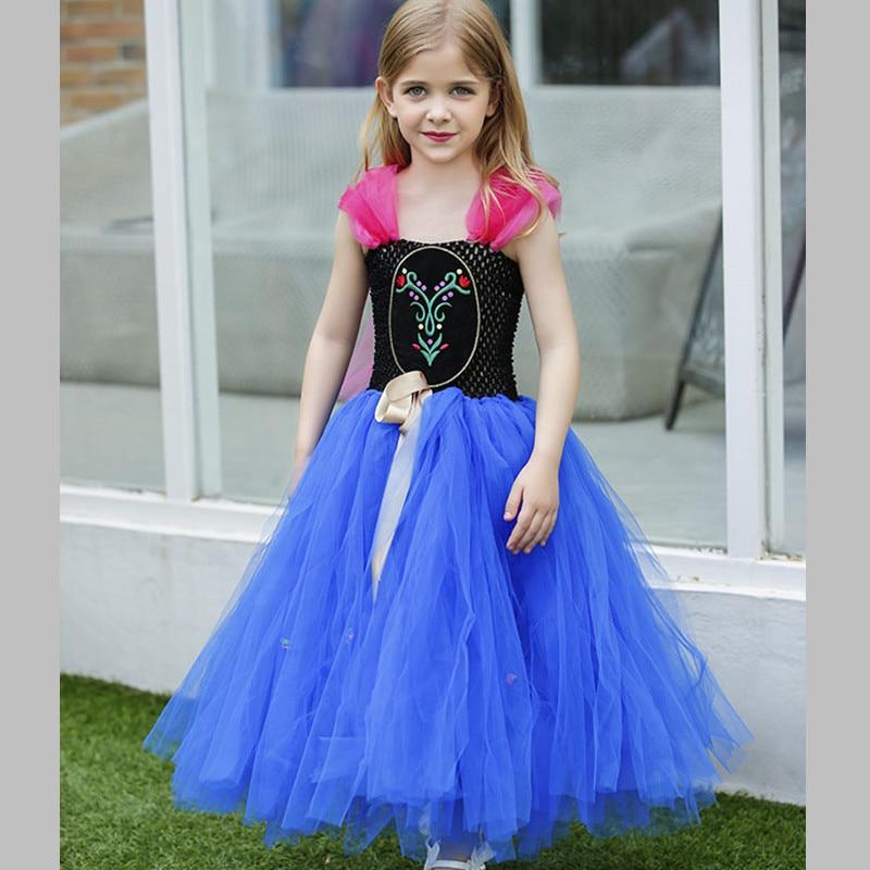 Hot Sale Anna Elsa Dress Girl Kids Princess Tulle Tutu Dress Cosplay Elsa Costume For Party Gowns Disfraces Infantiles Princesa <br>