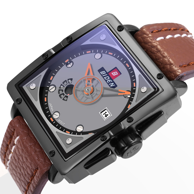 Relogio Hotel masculino BlDEN 2017 Marc Watch Luxury Sport Watch Quartz Rectangular Dial 30M Automatic Calendar Leather Strap<br>