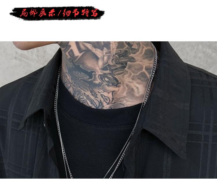 Men Thin Plaid Mesh Long Loose Casual Shirt Stage Youth Male High Street Fashion Hip Hop Punk Long Sleeve Ribbon Shirts