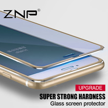 ZNP 3D Aluminum alloy Tempered glass For iphone 6 6S 7 Plus 5 5S SE Full 9H screen protector film For iPhone 7 6 Tempered glass