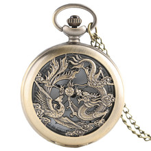 Chinese Dragon Phoenix Lucky Charm Necklace with Chain Retro Nurse Quartz Pocket Watch Fashion Pendant Women Men Elder Gifts(China)
