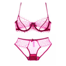 Buy Sexy Bra Panty Sets See bra transparent Underwear Set Women Embroidery Lace Bra Lacy Temptation lingerie