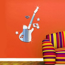 7pcs/1set Guitar Pattern Wall Stickers Removable Art Decal Home Kids Bed Room Decoration Silver Creative Wall Stickers