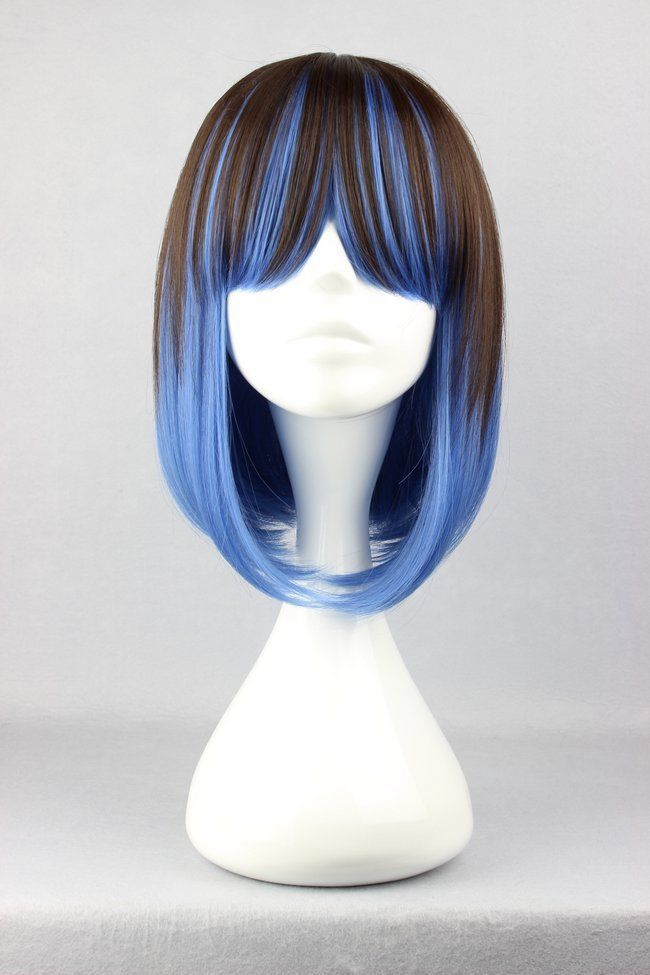 free shipping&gt;&gt;@&gt; Anime Short Straight Hair Blue Mixed Brown Lady Lolita Cosplay Party ANIME Wig no lace Front hair Wigs<br><br>Aliexpress