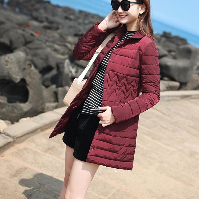 Fashion slim padded down jackets turn down collar winter 2017 long coats female pockets thin parka hot sale good khaki burgundyÎäåæäà è àêñåññóàðû<br><br>