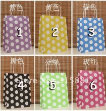 Dot paper bag, kraft paper bag & Festival gift package, Fashionable gift paper bag, 27X21X11 cm