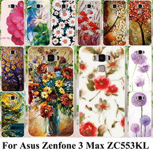 Silicon Plastic Cell Phone Cases For Asus Zenfone 3 Max ZC553KL Housing Covers Zenfone3 Max 5.5 inch Bags Flower Painted Shell