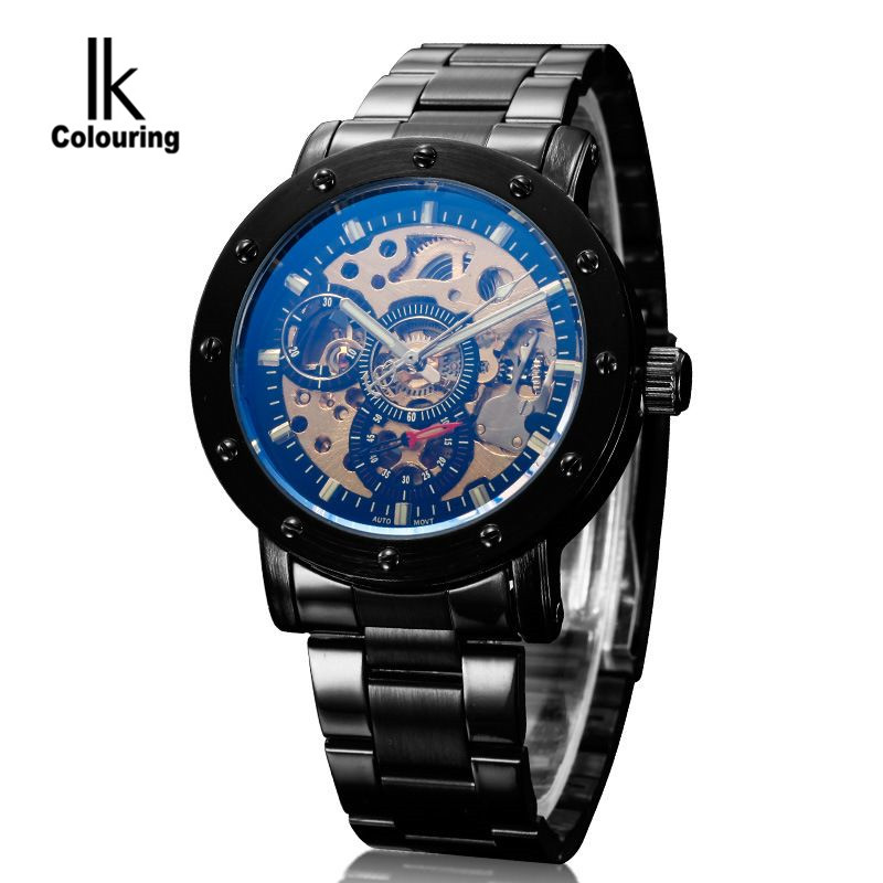 IK Coloring Casual Watch 2017 Men Mens Allochroic Glass Skeleton Dial Auto Mechanical Wristwatch with Box Free Ship<br>