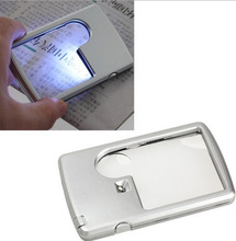 88*57*9mm Credit Card Led Magnifier loupe with light Leather Case magnifying glass(China)