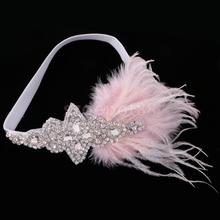 Sweet Pink Feather Headpiece Diamante Crystal 1920s Gatsby Hairband Fancy Dress Costume Party Headband Bridal Fascinator(China)