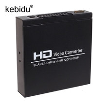 Kebidu 1080P SCART To HDMI Video Converter Splitter HDTV Audio Projector for HDTV DVD with EU Plug Power Supply Adapter