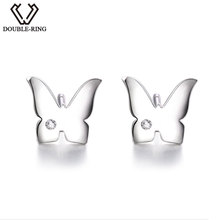 DOUBLE-R 0.01ct Natural Diamond Stud Earrings For Women Butterfly 925 Sterling Silver Earrings Brand Diamond Jewelry Female Gift(China)