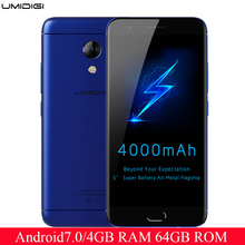 UMIDIGI C2 5.0 inch MTK6750T Octa-core Android 7 4G LTE Smartphone 4GB RAM 64GB ROM Fingerprint Sensor Long Standby mobile phone