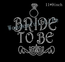 Free Shipping  Bride to be  Hot Fix Rhinestones Motifs Iron On Heat Transfer Crystal Stone