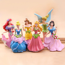 6pcs/set 8cm Princess Snow White Ariel Cinderella Tinker Bell PVC action Figure Dolls Toy For Girl Christmas gift(China)