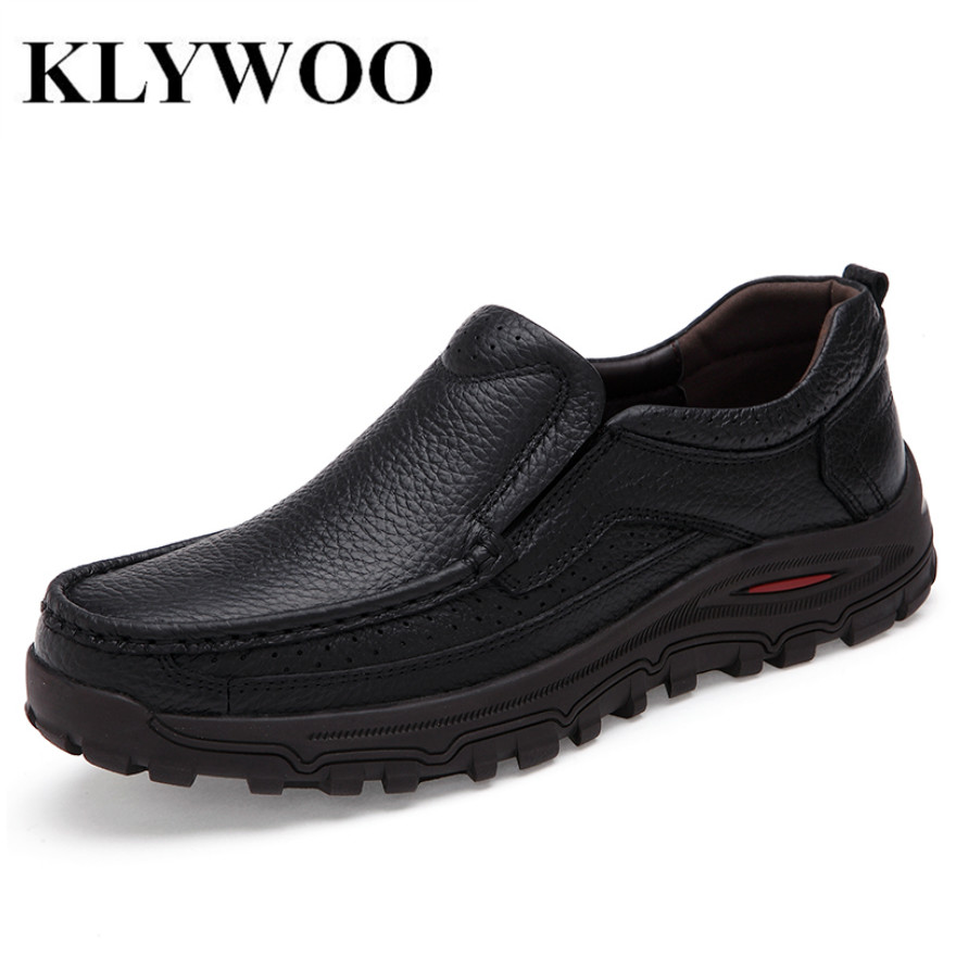 KLYWOO Men Shoes New Fashion Authentic Brand Casual Men Genuine Leather Loafers Shoes Plus size 38-48 Handmade Moccasins Shoes<br>