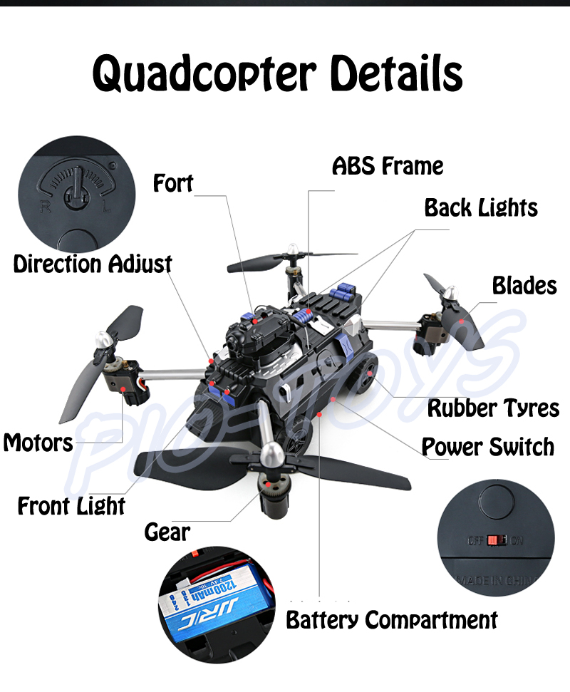 New Arrival Gift 2.4G Air-Ground Amphibious Tank RC Quadcopter Remote Control Helicopter Toys Flying Panzer Camera Wifi Video