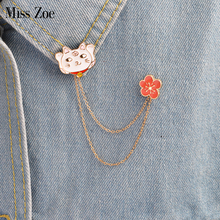 Miss Zoe Lucky Cat Cherry Blossoms Chain Brooch Button Pins Denim Jacket Pin Badge Lovely Animal Jewelry Gift for Kids Girls