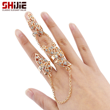 SHIJIE Korean Lovely Hollow leaf Men's Rings for Women Gold Silver color 3 parts Big Long Ring Fashion Jewelry Bague Femme Gifts