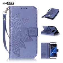 KOOSUK PU Leather Wallet Flip Cover Case for Samsung Galaxy S7 S6 S5 S4 S3 / S4 Mini S5mini / S7 S6 Edge Phone Case Carry Strap