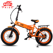 "PRIDE Electric bike 48V10A LithiumBattery Electric Fat Tire bike 20""Aluminum Folding250W 6Speed electric Bicycle Mountain e bike(China)"