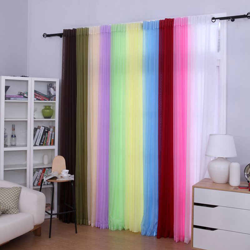 Single Panels Sheer Voile curtains Modern Solid Color Decoration Home Kitchen Tulle Curtains For Living Room