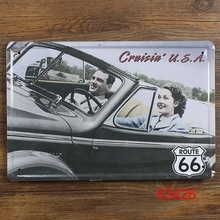 Route 66 Metal Tin signs Vintage decor motel Retro poster iron plaque for bar cafe pub crafts 20X30 CM