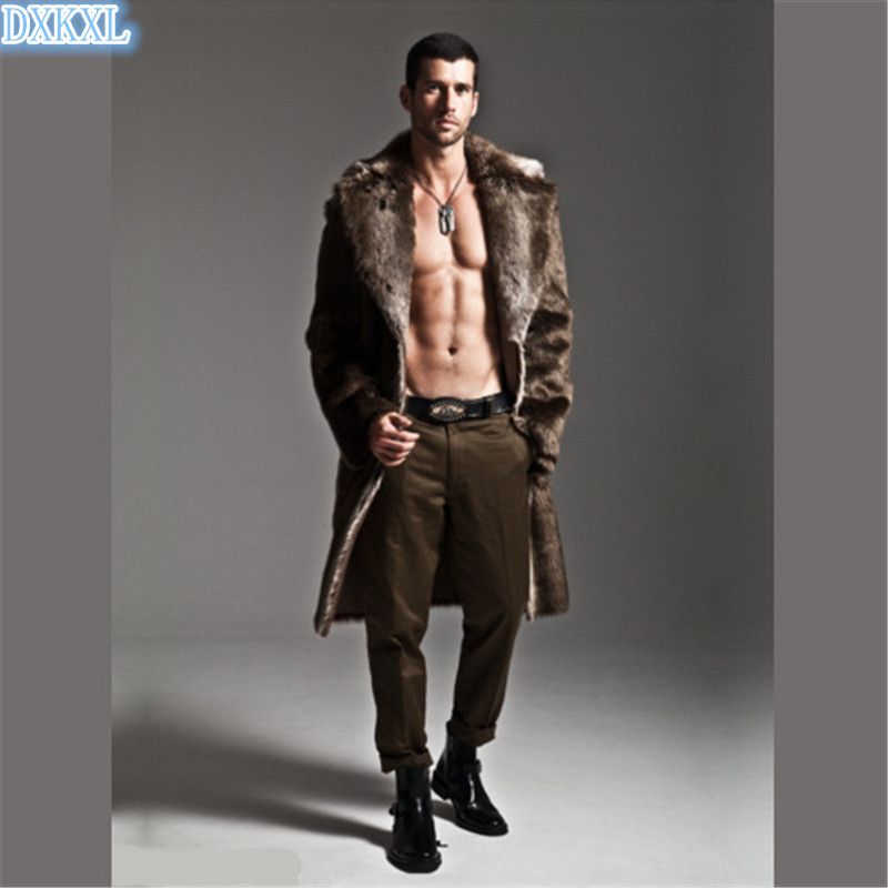 NEW 2016 cool warm Male Long Design Faux Fur Leather Coats Fashion Autumn and Winter Men Fake Fur Coat Free shipping