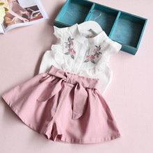 Hurave 2017 summer Korean baby girls clothing set children  heart shirt+bow shorts suit 2pcs kids floral bow clothes set suit