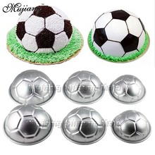 6 Pcs 3 Size 3D Aluminum Alloy Football Sphere Bath Bomb Molds Baby Birthday Cake Decorating Tools Cupcake Baking Dish Moulds