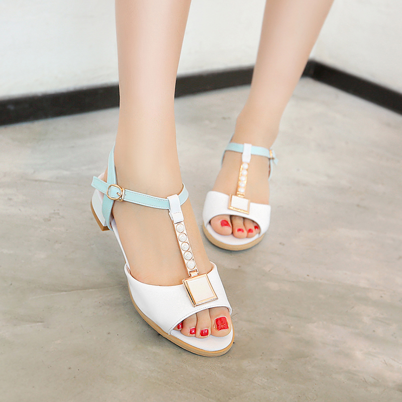 2016 summer Simple Women Shoes buckle strap low-heeled Solid color patch Square heel Metal Peep Toe sandals big size 32-48 T785<br><br>Aliexpress