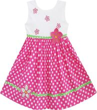 Girls Dress Pink Dot Flower Embroidered Sundress Children Clothes Cotton 2017 Summer Princess Wedding Party Dresses Size 2-6