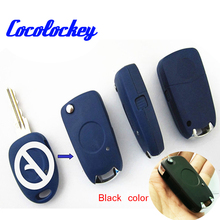 Cocolockey Blank Key One Button Modified Flip Remote Key Shelll for Fiat One Button on Side Uncut Blade In Black Color No Logo(China)