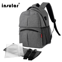 Insular Solid Color Baby Diaper Changing Backpack Bag Multifunctional Baby Mommy Bag Waterproof Mummy Nappy Stroller Backpack(China)