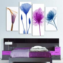 4 Piece Free Shipping Cheap abstract Modern Wall Painting purple pink flower Home Decorative Art Picture Paint on Canvas Prints