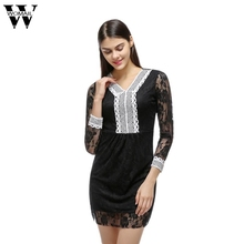Buy Womail Lace Sexy Dress V-neck Bodycon Dresses Long Sleeve Women Dress Evening Party Elegant Sheath Mini Dresses Dec12 for $8.45 in AliExpress store