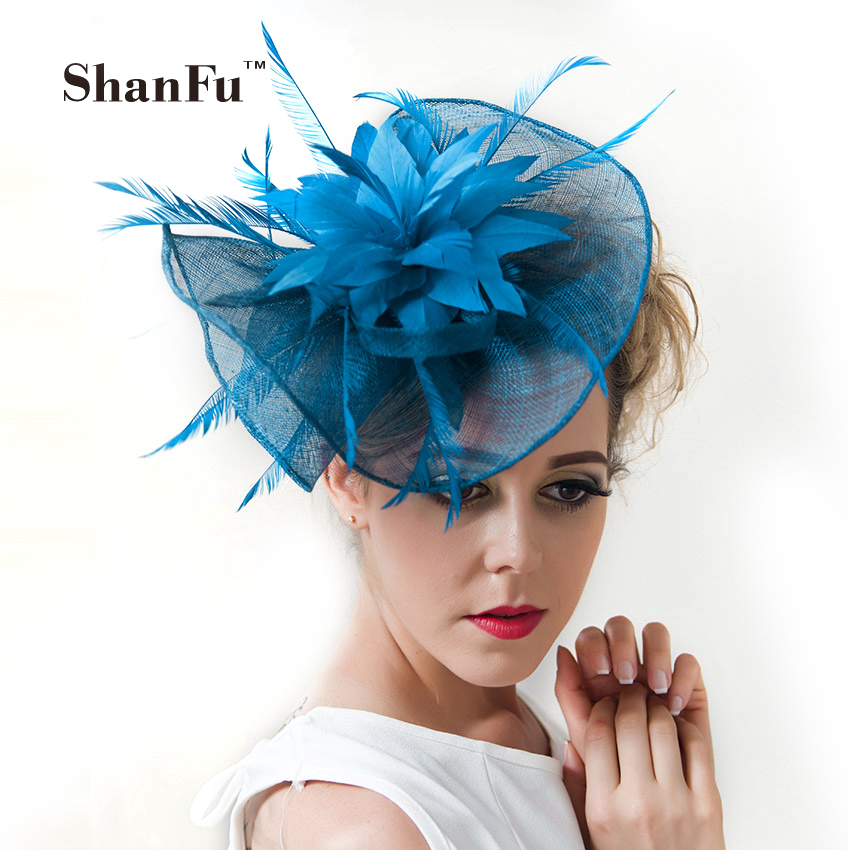ShanFu Women Large Flower Feather Wedding Hat Girl Charming Sinamay Fascinators Design with Special Shape Fashion Headpiece12329<br>