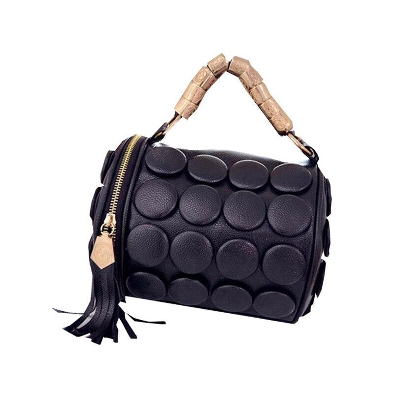 2017 New Barrel shaped big buttons handbags Tassel Design Shoulder bagss for women messenger bags drum pillow Bucket bag Q0621<br><br>Aliexpress