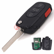 Keyecu 3+1 Button Flip Key Remote Control Fob 433MHz with ID48 Chip for VW Beetle Cabrio Golf Jetta Passat 1J0 959 753 F(China)