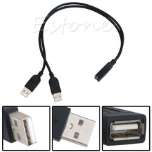 New USB 2.0 FeMale to 2 Dual male Jack Y Splitter Hub Cord Adapter Cable 30cm